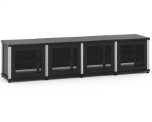 Synergy Solution 247, Quad-Width AV Cabinet, Black with Black Posts