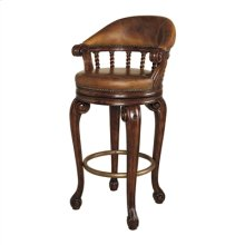 DARK ANTIQUE LIDO FINISHED MAH OGANY SWIVEL COUNTER STOOL, OL D ATTIC LEATHER UPHOLSTERY