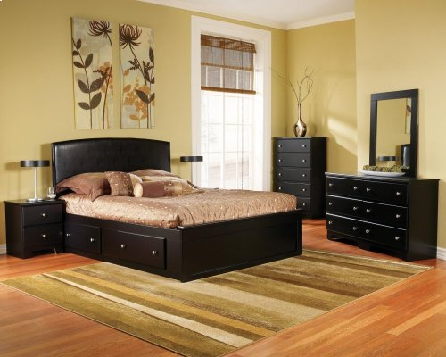Fabric Headboard 4-Drawer Captains Bed - Queen