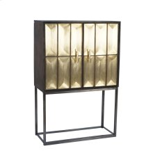 Wood & Metal Tall 2 Door Cabinet, Gold Kd