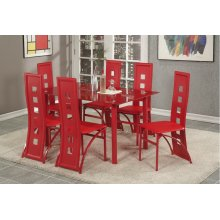 7 Pc. Red Contemporary Dining Set