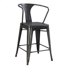 Barstool Arm Chair-metal-gunmetal Finish