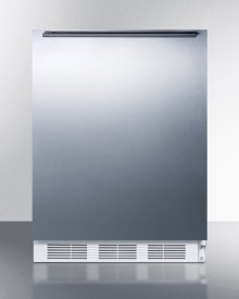 Freestanding Counter Height Refrigerator-freezer for Residential Use, Cycle Defrost With A Stainless Steel Wrapped Door, Towel Bar Handle, and White Cabinet