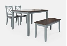 Asbury Park 4-pack - Table With 2 Chairs and Bench - Grey /autumn