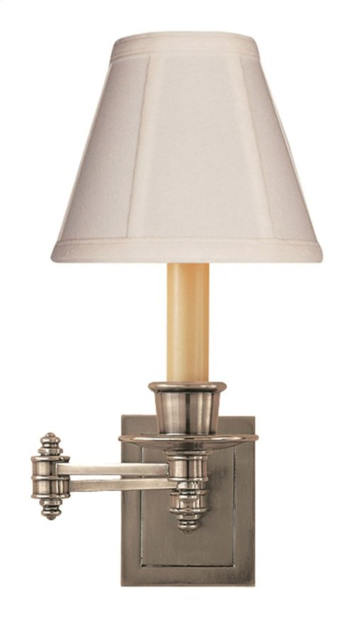 Visual Comfort S2007AN-T Studio 12 inch 40 watt Antique Nickel Swing-Arm Wall Light in Tissue Silk