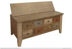 Multi Drawer Cocktail Table w/ 8 Drawers & hinged top storage on the other side