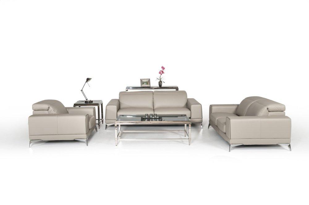 Estro Salotti Bolton Italian Modern Grey Leather Sofa Set