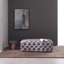 Divani Casa Spiegel Transitional Grey Velvet Tufted Ottoman