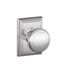 Andover Knob with Addison trim Non-turning Lock - Bright Chrome
