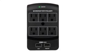 Core Power® 650 USB Wall Outlet - 6 / Black