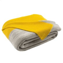 SUN KISSED KNIT THROW - Yellow / Light Grey / Natural
