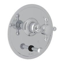 Polished Chrome Italian Bath Pressure Balance Trim With Diverter with Cross Handle