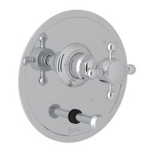 Polished Chrome Hex Pressure Balance Trim With Diverter with Cross Handle