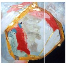 Set of 2 Contemporary Textured & Hand Embellished Canvases