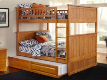Nantucket Bunk Bed Full over Full with Raised Panel Trundle Bed in Caramel Latte