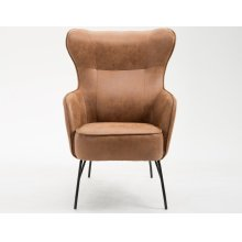 Emerald Home Franky Accent Chair-saddle Leather-look Cover With Black Metal Legs-u3327-05-05