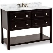 "48"" vanity with sleek black finish and clean lines, and complementary satin nickel hardware with preassembled top and bowl."