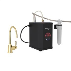 Unlacquered Brass Perrin & Rowe Holborn C-Spout Hot Water Faucet, Tank And Filter Kit with Contemporary Metal Lever