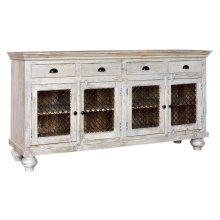 Bengal Manor Mango Wood 4 Drawer, 4 Iron Door Sideboard