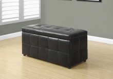 "OTTOMAN - 38""L / STORAGE / DARK BROWN LEATHER-LOOK"