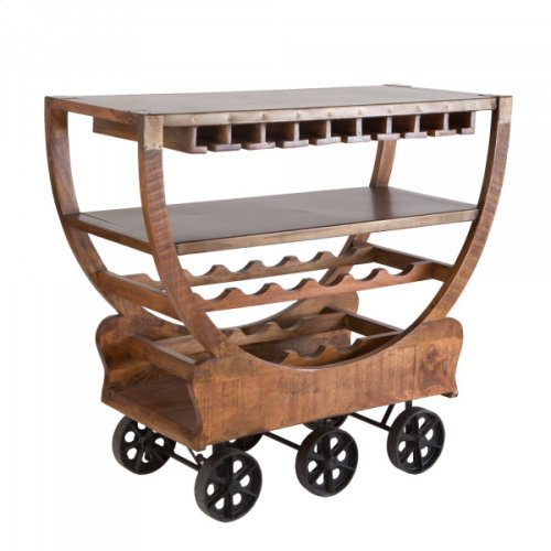 Mango Wood Wine Cart