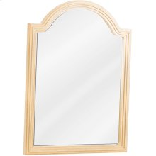 """26"""" x 36"""" Reed-frame mirror with beveled glass and Buttercream finish."""