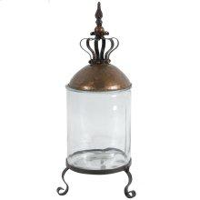 "32888  D9.5x22.5"" Princely Crown Copper Top Glass Jar 4EA/CTN"