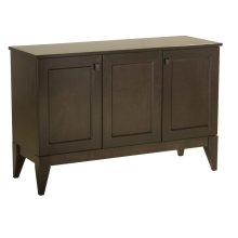 """50"""" 3 Door Buffet, Solid Maple Top With Eased Edge Square Wood Knobs, Tapered Foot, 1 Fixed Half Shelf"""