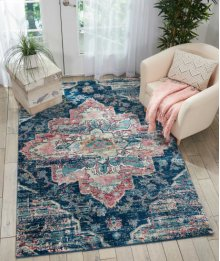 Fusion Fss13 Navy/pink Rectangle Rug 7'10'' X 10'6''