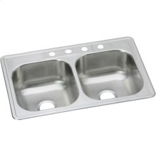 """Dayton Stainless Steel 33"""" x 21-1/4"""" x 8-1/16"""", Equal Double Bowl Drop-in Sink"""