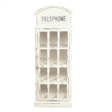 CC-CAB064LD-WW  Cottage English Phone Booth Cabinet  Distressed  White