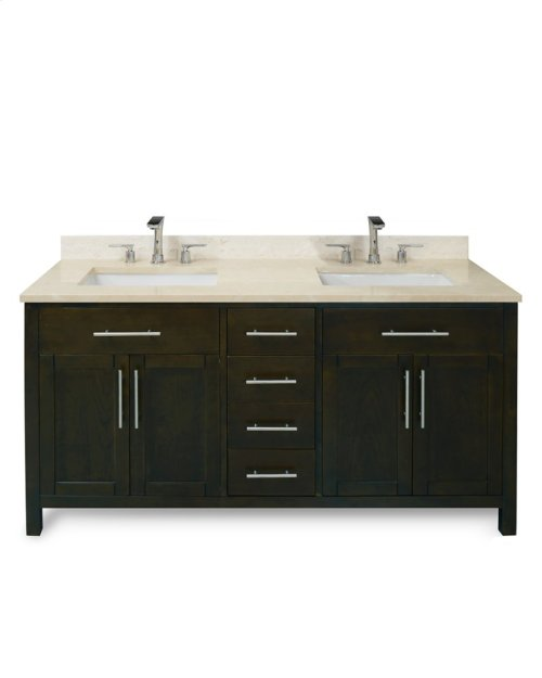 Ocean Grey MALIBU 60-in Double-Basin Vanity Cabinet with Carrara Marble Stone Top and Muse 18x12 Sink
