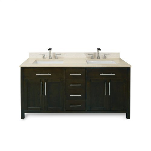 Ocean Grey MALIBU 60-in Double-Basin Vanity Cabinet with Carrara Marble Stone Top and Karo 18x12 Sink