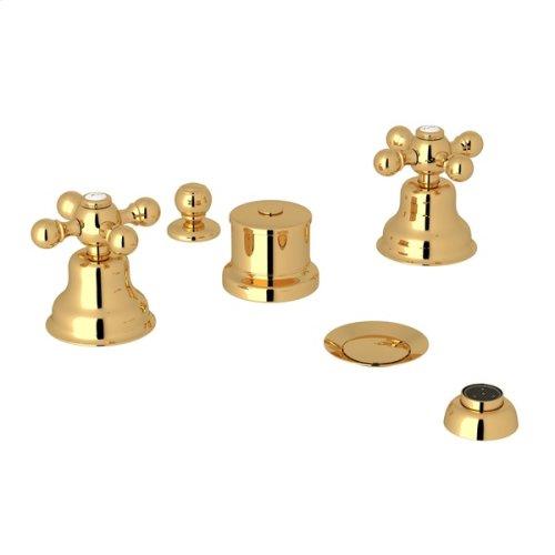 Italian Brass Arcana Five Hole Bidet Faucet with Arcana Series Only Cross Handle