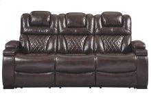 Warnerton Chocolate Power Reclining Sofa with Adjustable Headrest