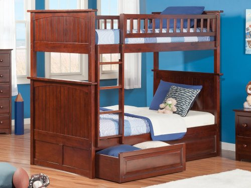 Nantucket Bunk Bed Twin over Twin with Raised Panel Bed Drawers in Walnut