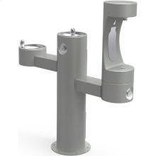 Elkay Outdoor EZH2O Bottle Filling Station Tri-Level Pedestal, Non-Filtered Non-Refrigerated Gray