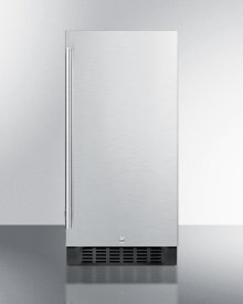 """15"""" Wide ADA Compliant All-refrigerator for Built-in or Freestanding Use, With Digital Controls, LED Light, Lock, Stainless Steel Door, and Black Cabinet"""