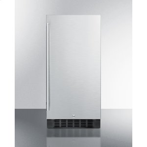 "Summit15"" Wide ADA Compliant All-refrigerator for Built-in or Freestanding Use, With Digital Controls, LED Light, Lock, Stainless Steel Door, and Black Cabinet"