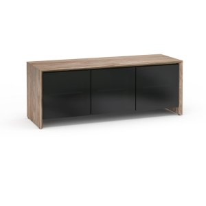 Salamander DesignsBarcelona 237, Triple-Width AV Cabinet, Natural Walnut with Black Glass Doors
