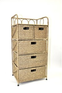 Sea grass Cabinet with 5 Drawers Product Image