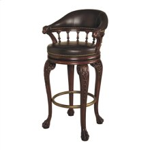 MAHOGANY FINISHED SWIVEL BARST OOL, LION'S HEAD MOTIF, BENTLE Y CHOCOLATE LEATHER UPH