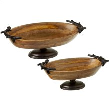 Oval Pedestal Stand with Antler Handles set/2.