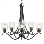 Parrish 5 Light Chandelier in Black with Seeded Glass