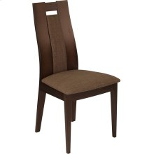 Almont Espresso Finish Wood Dining Chair with Curved Slat Wood and Golden Honey Brown Fabric Seat