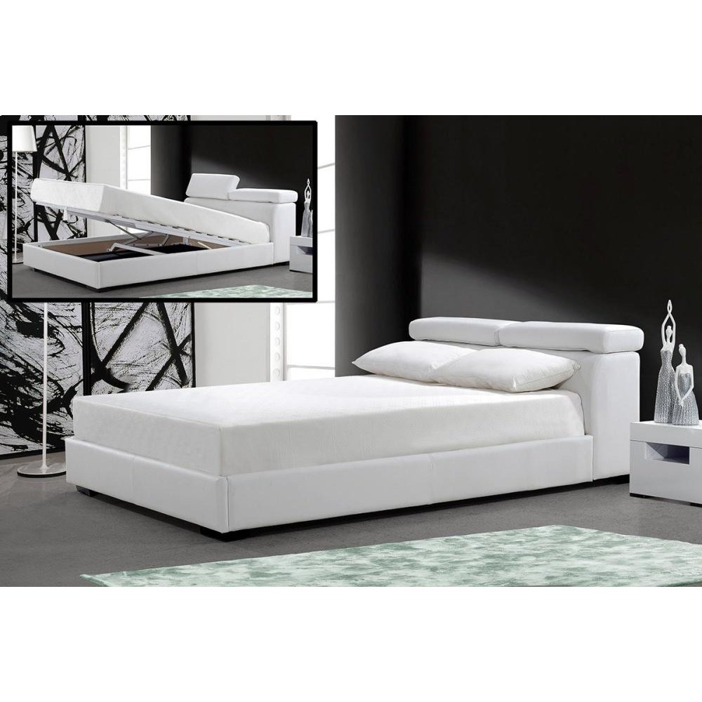 Modrest Logan - White Leatherette Bed with Storage