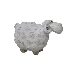 Carved White Sheep 6.25""