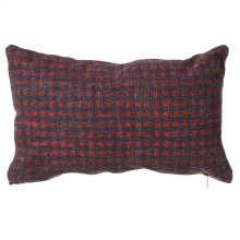 Small Washed Red & Blue Check Lumbar Pillow.