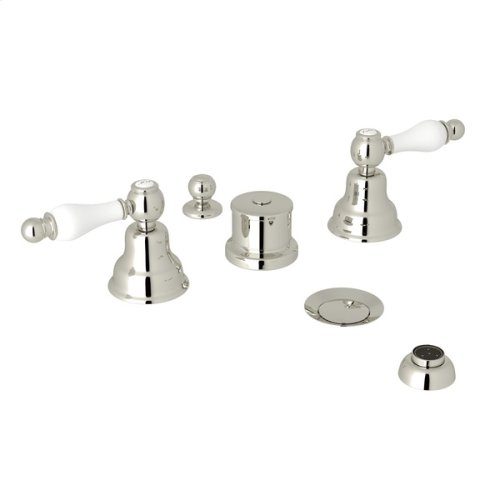 Polished Nickel Arcana Five Hole Bidet Faucet with Arcana Series Only Ornate White Porcelain Lever