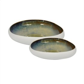 "S/2 Ceramic Bowls 12/15"", White/green"